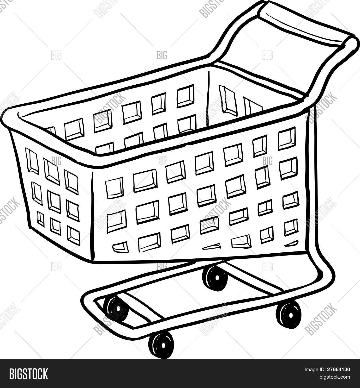 1500x1614 Shopping Cart Drawing Vector Amp Photo Bigstock