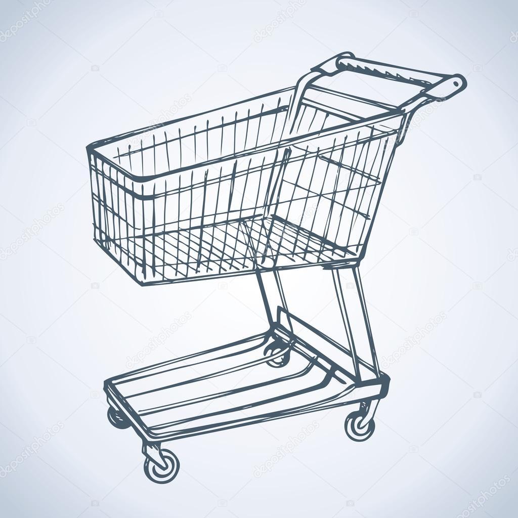1024x1024 Shopping Supermarket Cart. Vector Sketch Stock Vector Marinka