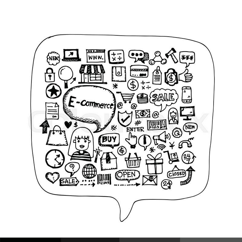 800x800 Freehand Drawing E Commerce Shopping Illustration Design Stock