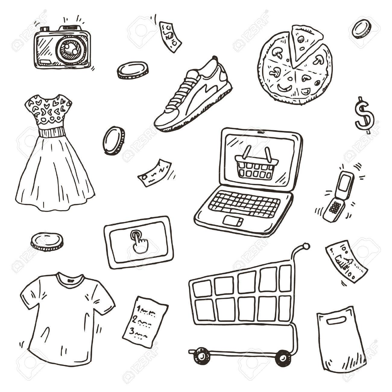 1300x1300 Hand Drawn Sketch Set, E Commerce Online Shopping Doodle Icons
