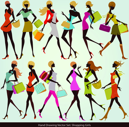 500x491 Hand Drawing Shopping Girls Vector Set Free Vector In Encapsulated