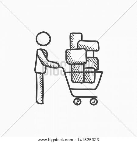 450x470 Man Pushing Shopping Cart Vector Vector Amp Photo Bigstock
