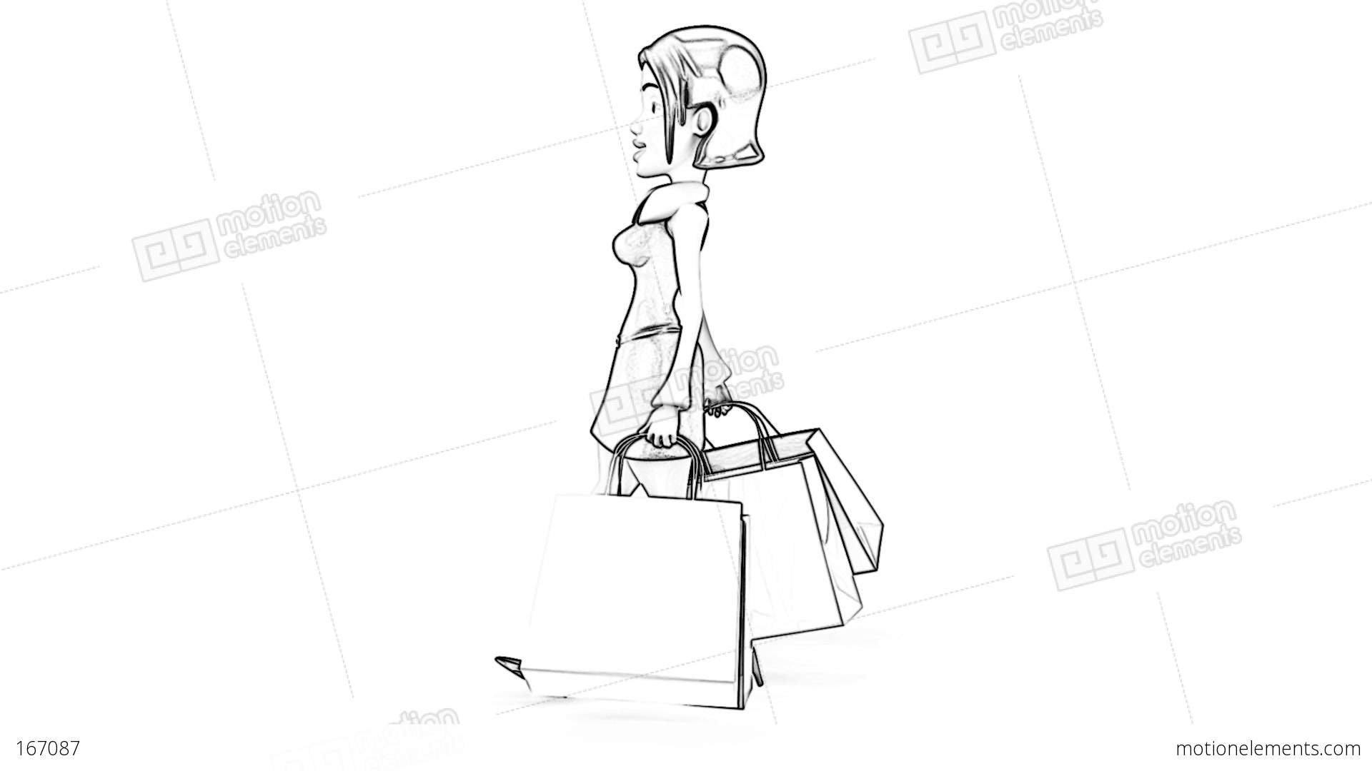1920x1080 Shopping Girl Side Toon Stock Animation 167087