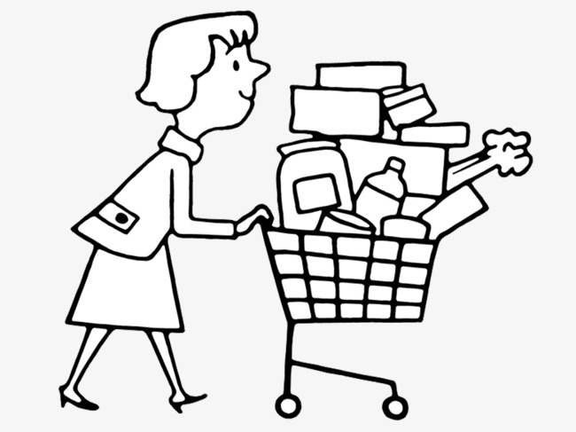 Line Drawing Xmas : Shopping drawing at getdrawings free for personal use