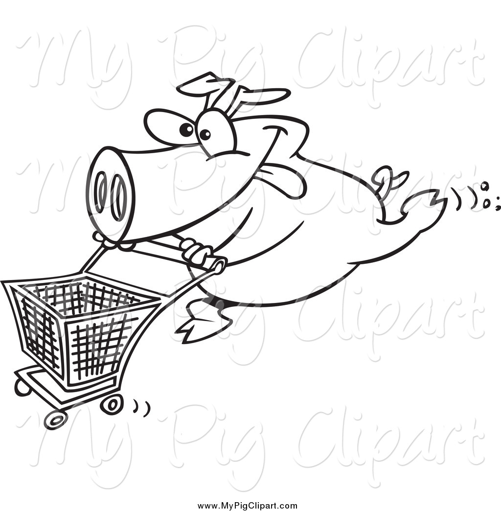 1024x1044 Swine Clipart Of Blacknd White Energetic Pig Pushing