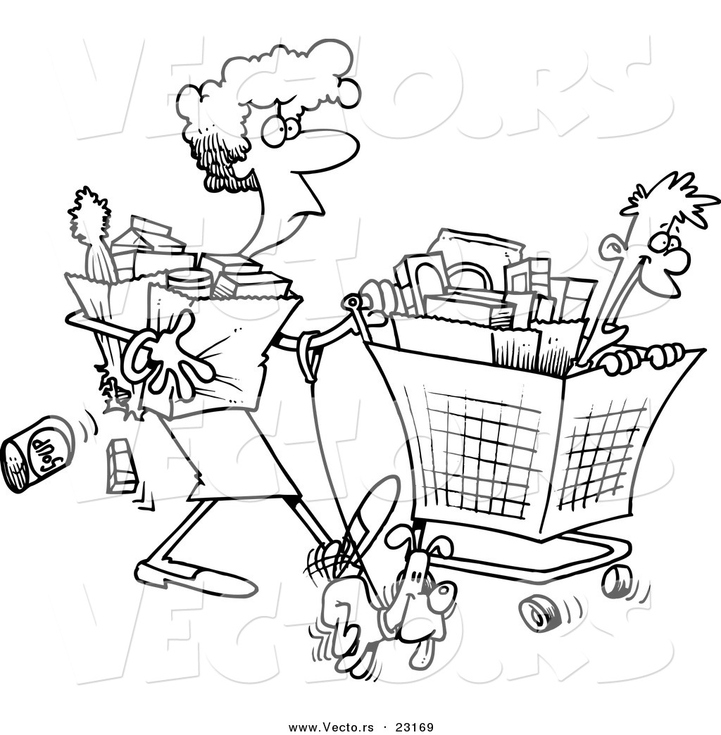 1024x1044 Vector Of A Cartoon Woman Shopping With Her Son