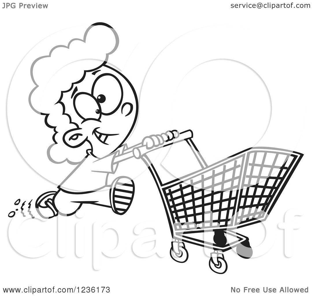 1080x1024 Clipart Of A Black And White Fast Girl Running With A Shopping