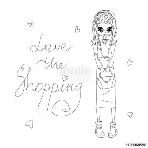 500x500 Cute Sketch Vector Love The Shopping Fashion Illustration