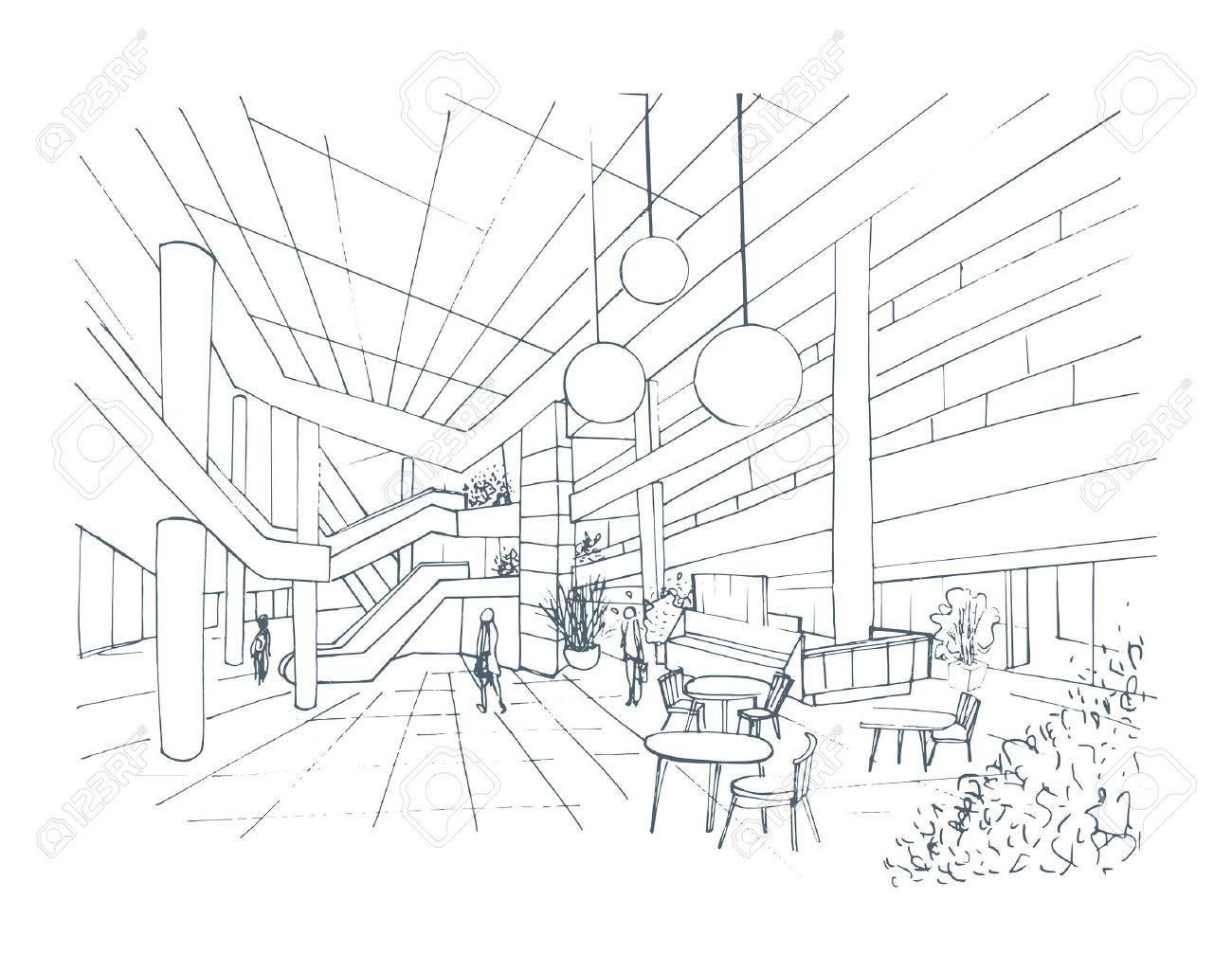 1300x1026 Modern Interior Shopping Center, Mall. Contour Sketch Illustration