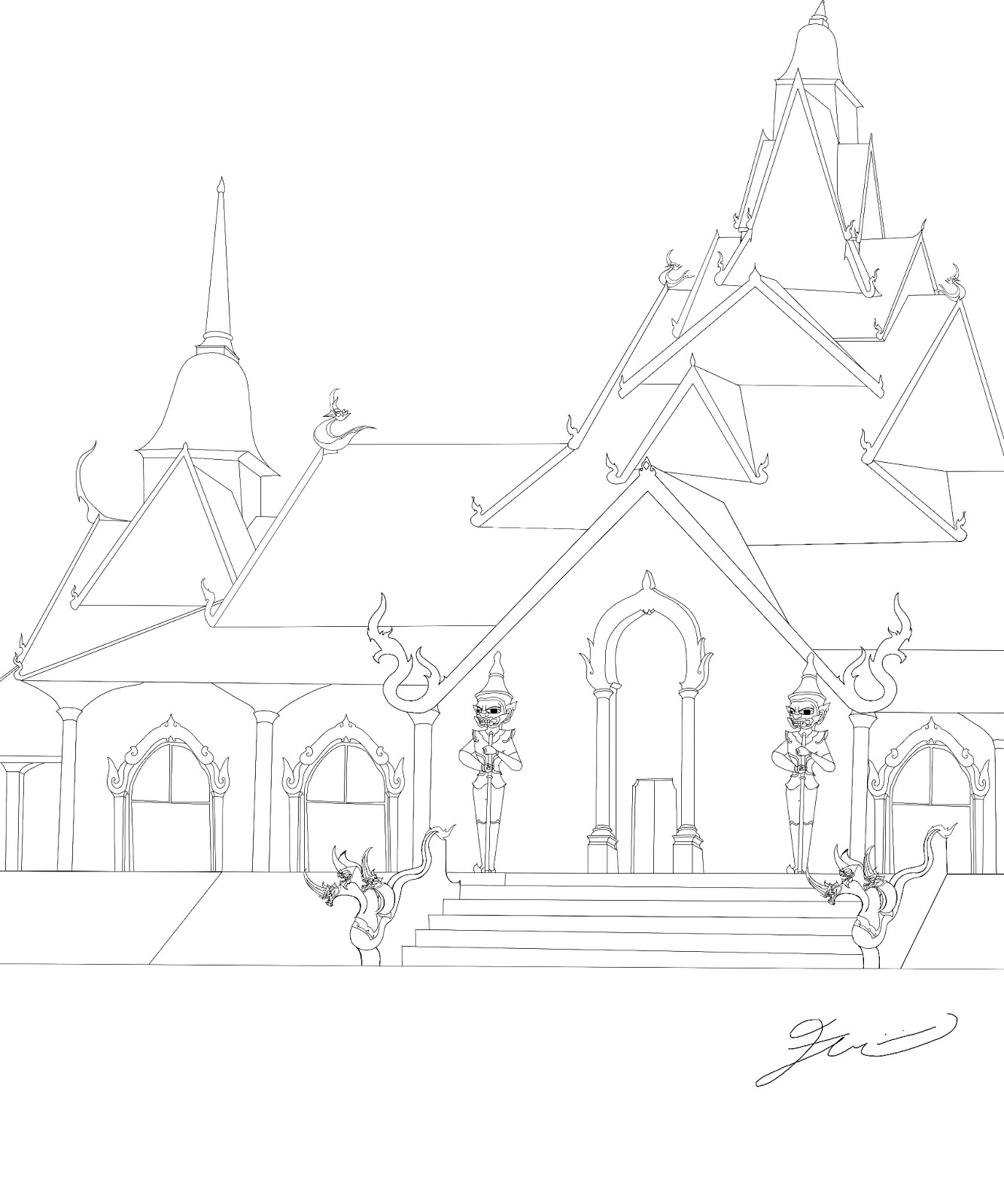 1334x1600 My First Improved Lineart Drawing Of The Singapore Sukhothai