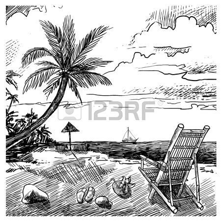 450x450 Beautiful Hand Drawn Vacation Poster With Seaside View And Beach