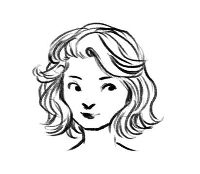 411x357 Short Curly Hair Drawing Short Curly Hair Drawing
