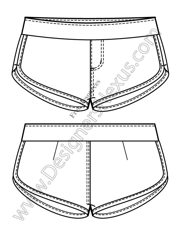 612x792 V4 Knit Flats Track Shorts Free Illustrator Fashion Technical