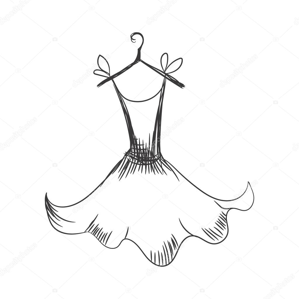 1024x1024 Gown Hand Drawing On A Hanger Stock Vector Konekotanya.gmail