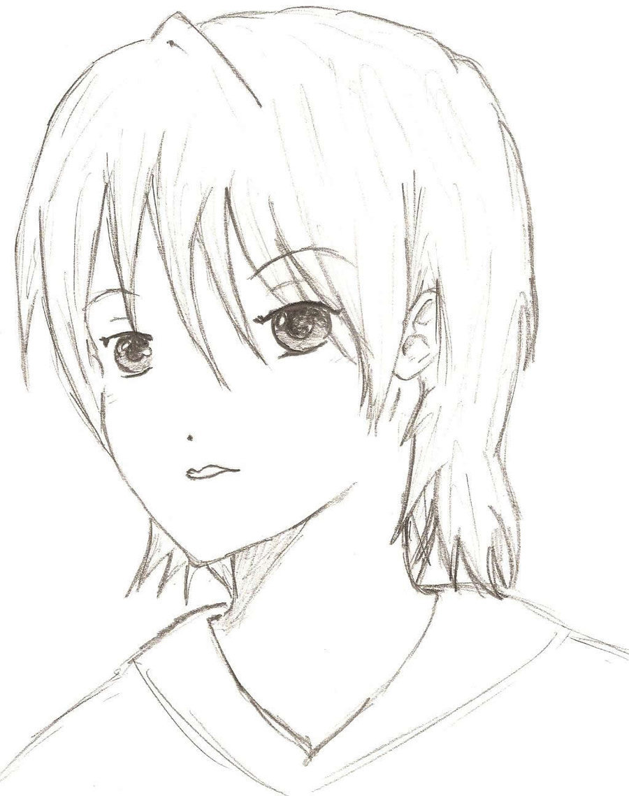 900x1139 Girl Short Hair By J E H U T Y