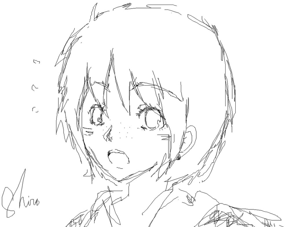 1019x784 Girl With Short Hair. By Shiro2907