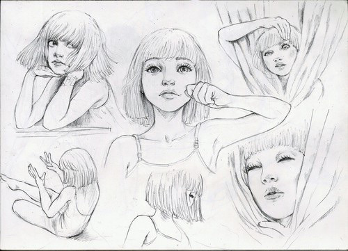 500x361 Drawing Art Hair Girl Cute Eyes Cool Beautiful Song White Dancing