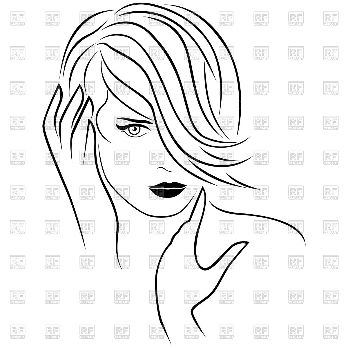 1200x1200 Cute Young Girl With Short Hairstyle Royalty Free Vector Clip Art