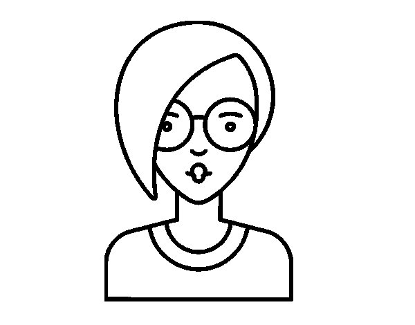 600x470 Girl With Short Hair Coloring Page