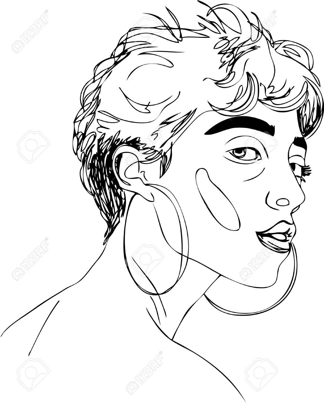 1044x1300 Illustration. Short Haired Girl In Earrings. One Line Design