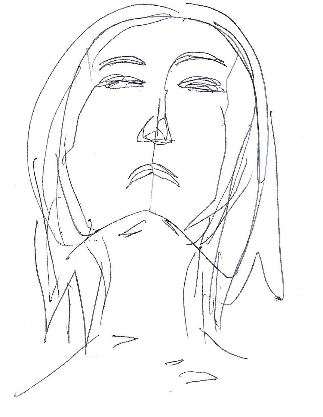 1074x1389 Nerelle Line Drawing Of A Girl With Short Hair This Was