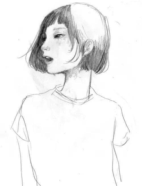 500x654 Girl Sketch Art Writing Characters, Girl Sketch