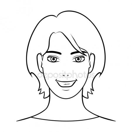 450x450 Avatar Girl With Short Hair.avatar And Face Single Icon In Outline