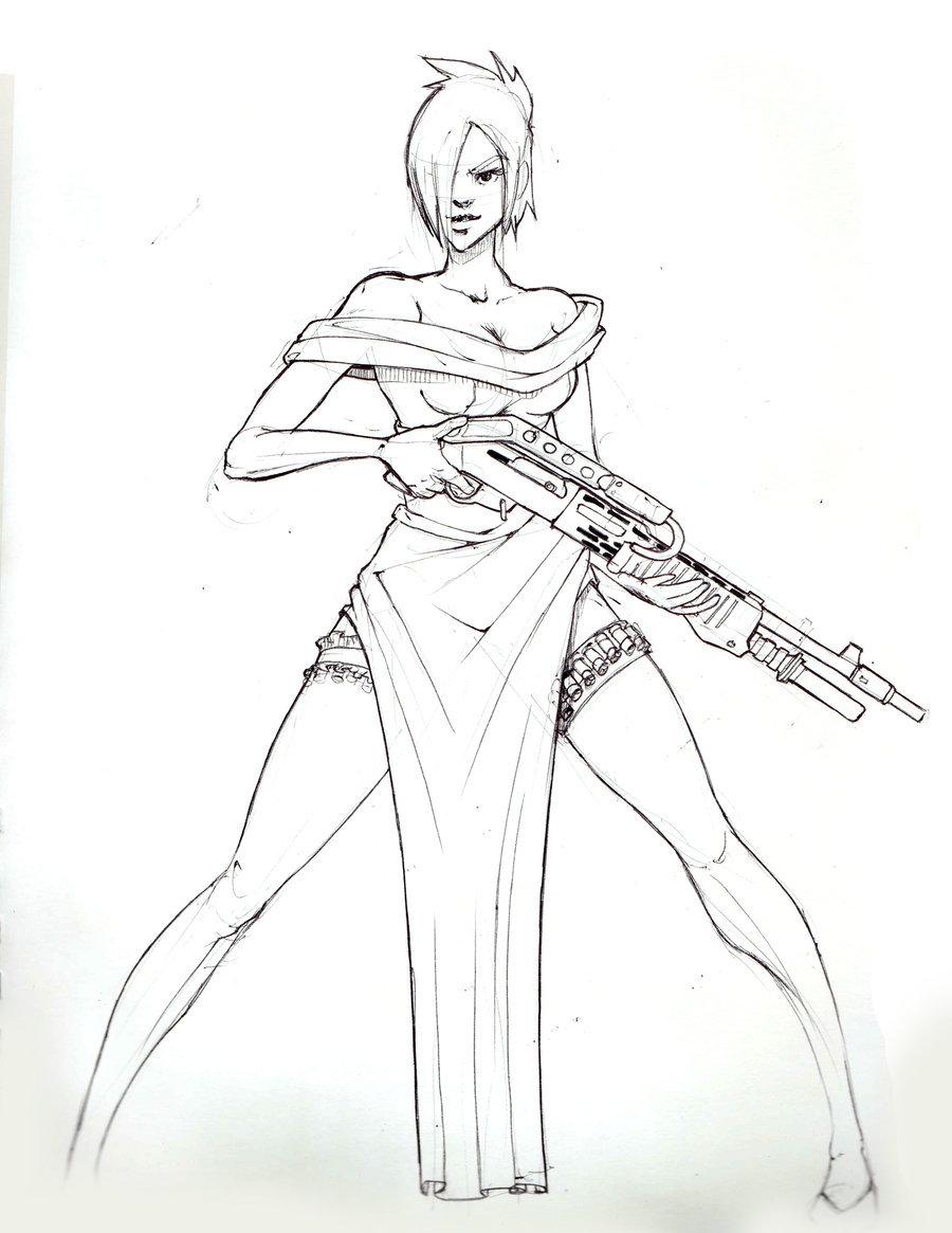 900x1165 Shotgun Girl By Danielcherng