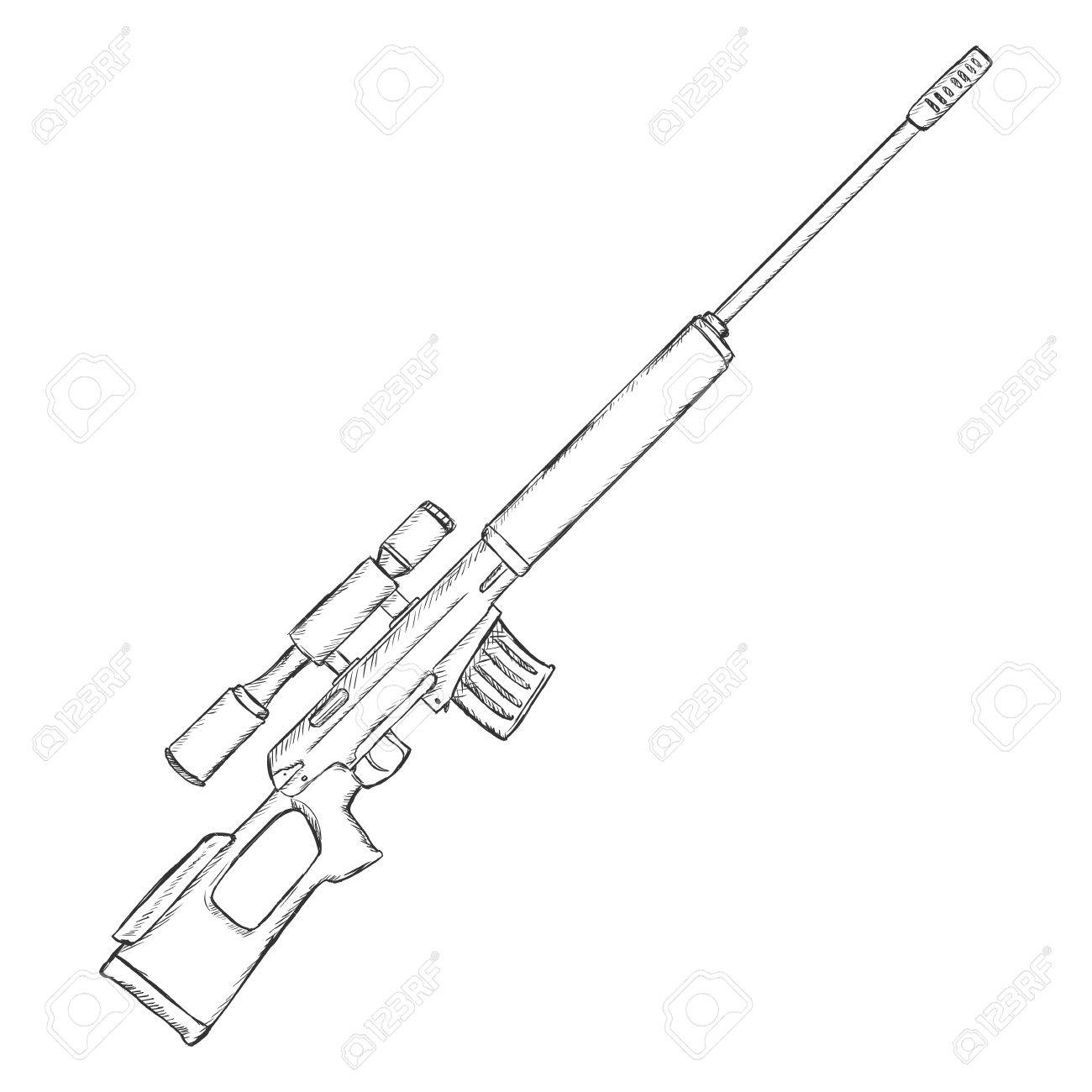 1300x1300 Vector Sketch Sniper Rifle On White Background Royalty Free