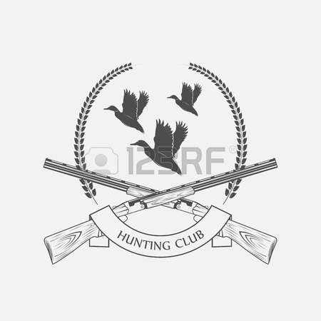450x450 Vintage Clay Target And Gun Club Labels. Duck Hunting Royalty Free