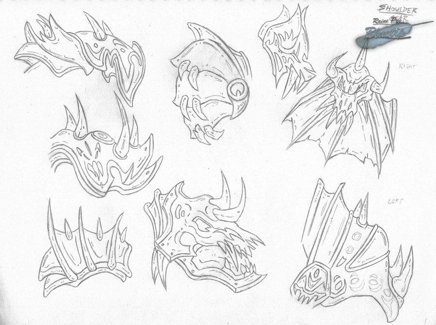 900x670 Shoulder Gear Sketch By The Bluetip