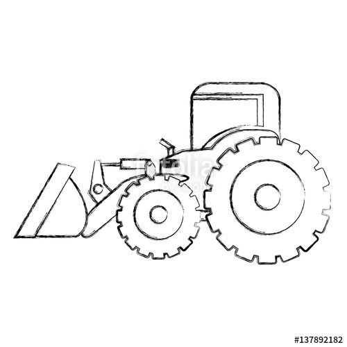 500x500 Monochrome Contour Hand Drawing Of Tractor Loader With Shovel