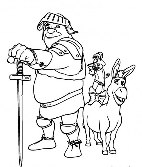 600x704 the best team ever after shrek puss and donkey coloring pages 518 - Donkey Coloring Pages