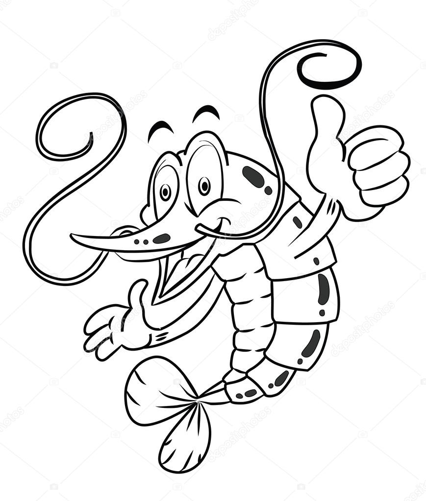 869x1023 Black And White Shrimp Cartoon Stock Vector Imazyreams