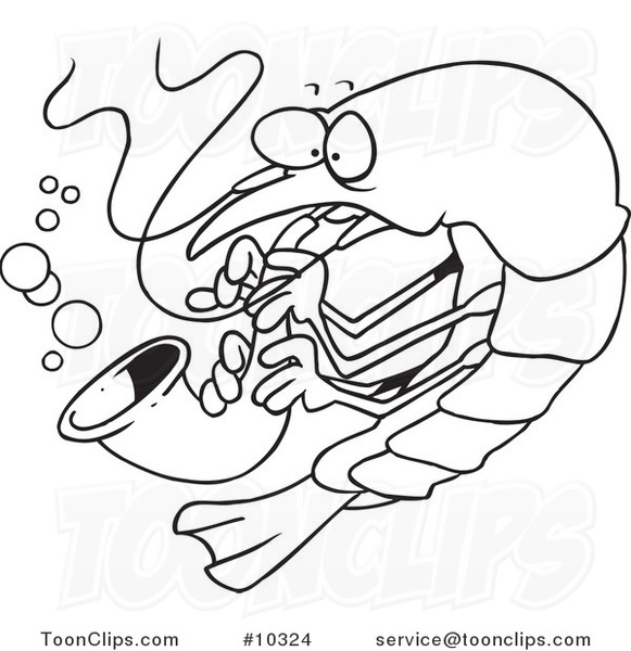 581x600 Cartoon Blacknd White Line Drawing Of Shrimp Playing