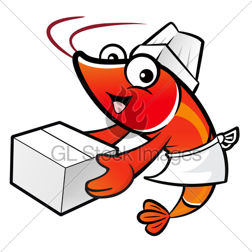 500x500 Shrimp Character Is Holding A Large Courier Box Of Both H Gl