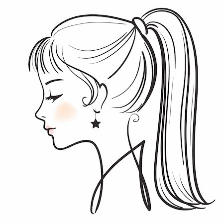 450x450 Gallery Side Face Girl Sketch,