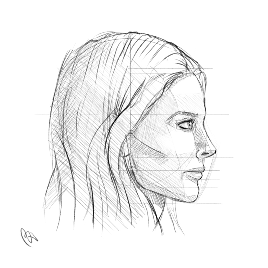 888x888 Pictures Side Face Profile Drawing,