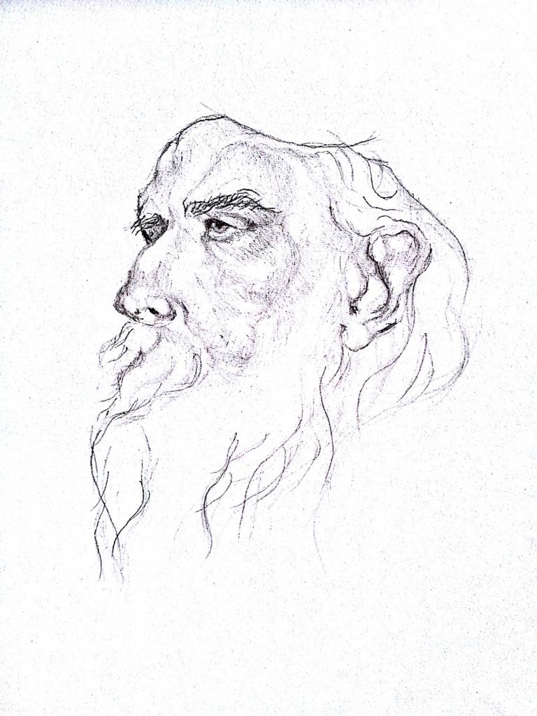 768x1024 Rabindranath's Side Face Sketch Picture Rabindranath Tagore Pencil