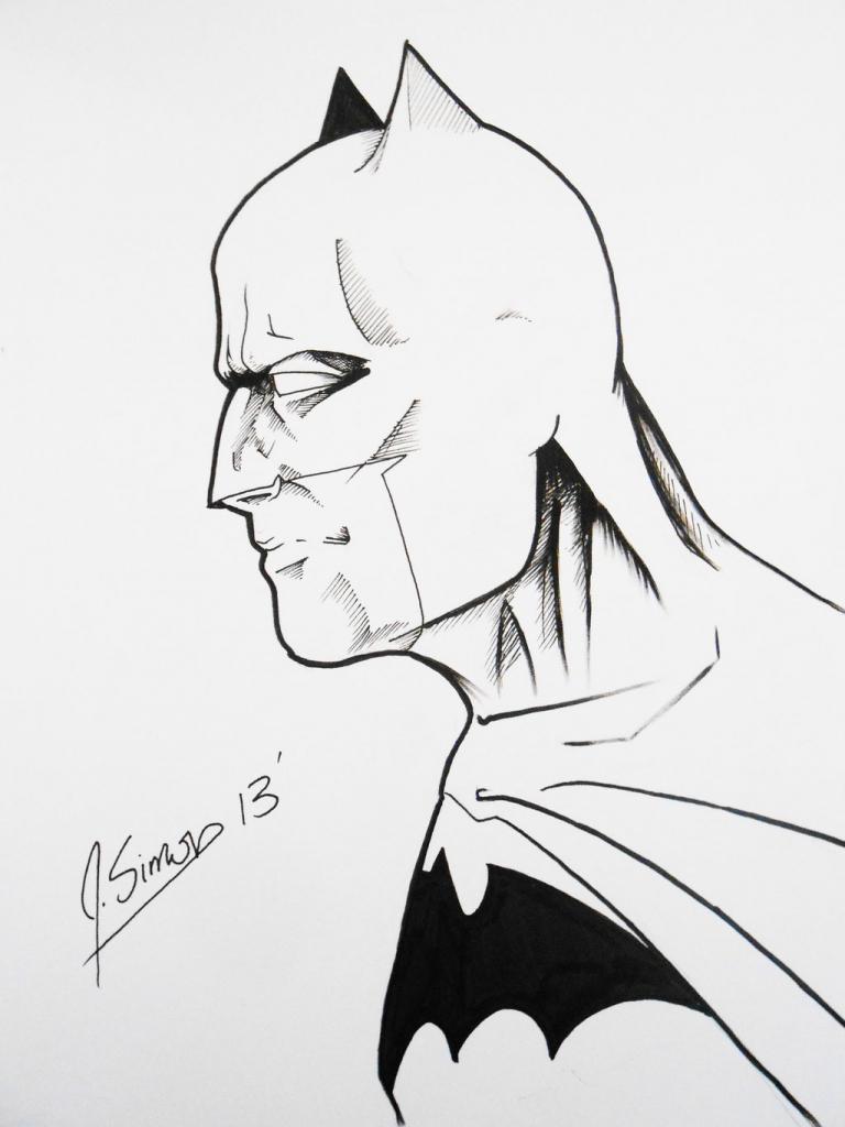 768x1024 Batman Sketches Side Face Batman Profile Sketch Jsimonart