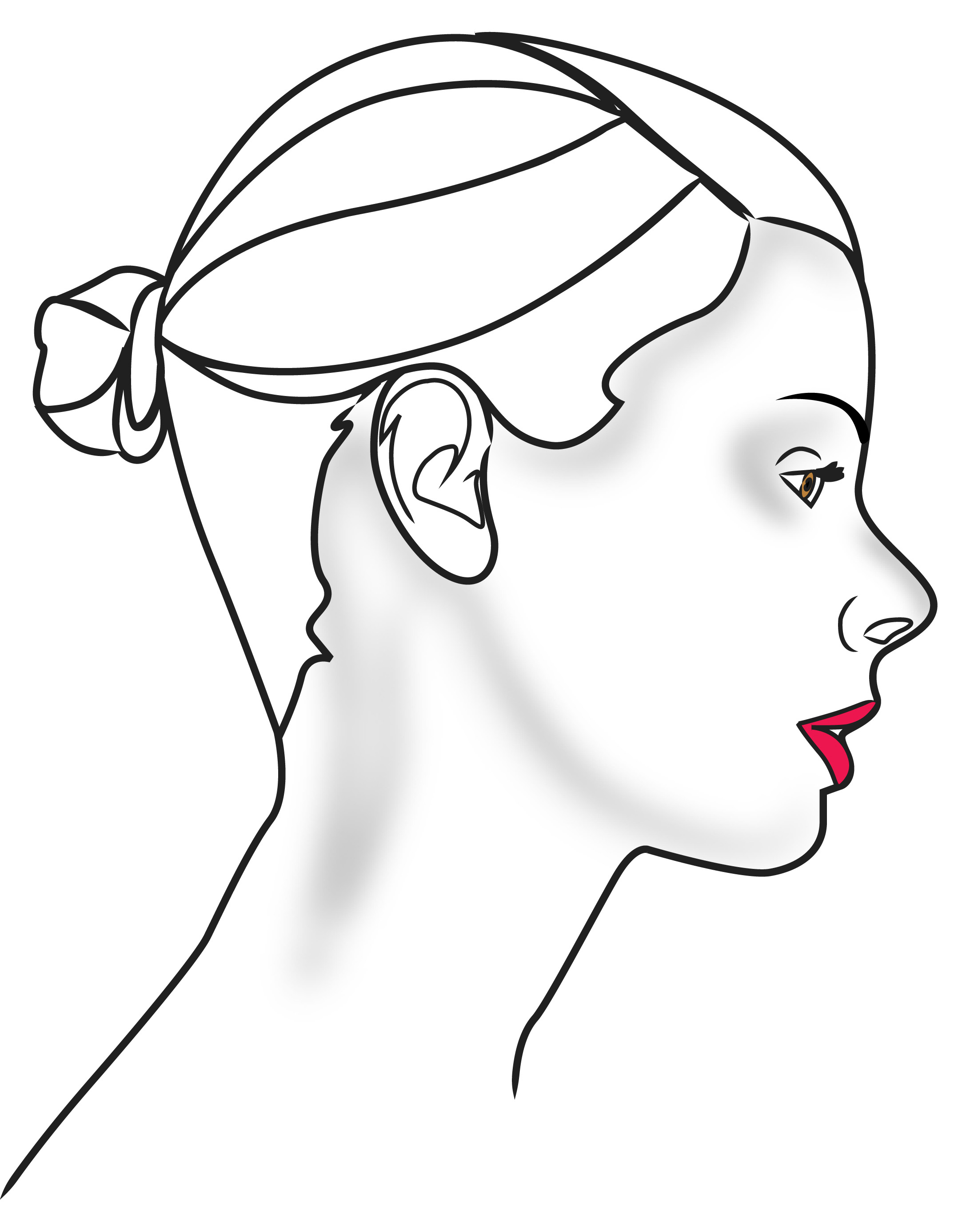 2192x2772 Drawing Face Profile Outline Side Face Clipart