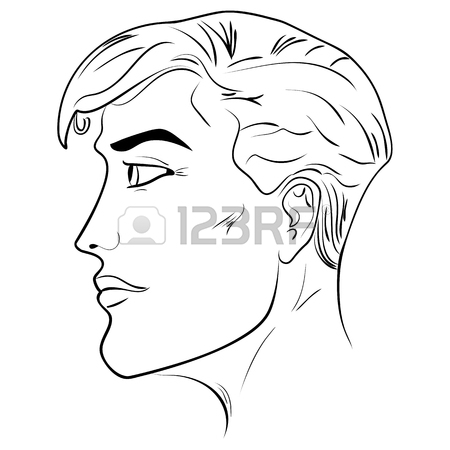 450x450 Outline Side Profile Of A Human Male Head Face Close Up, Black