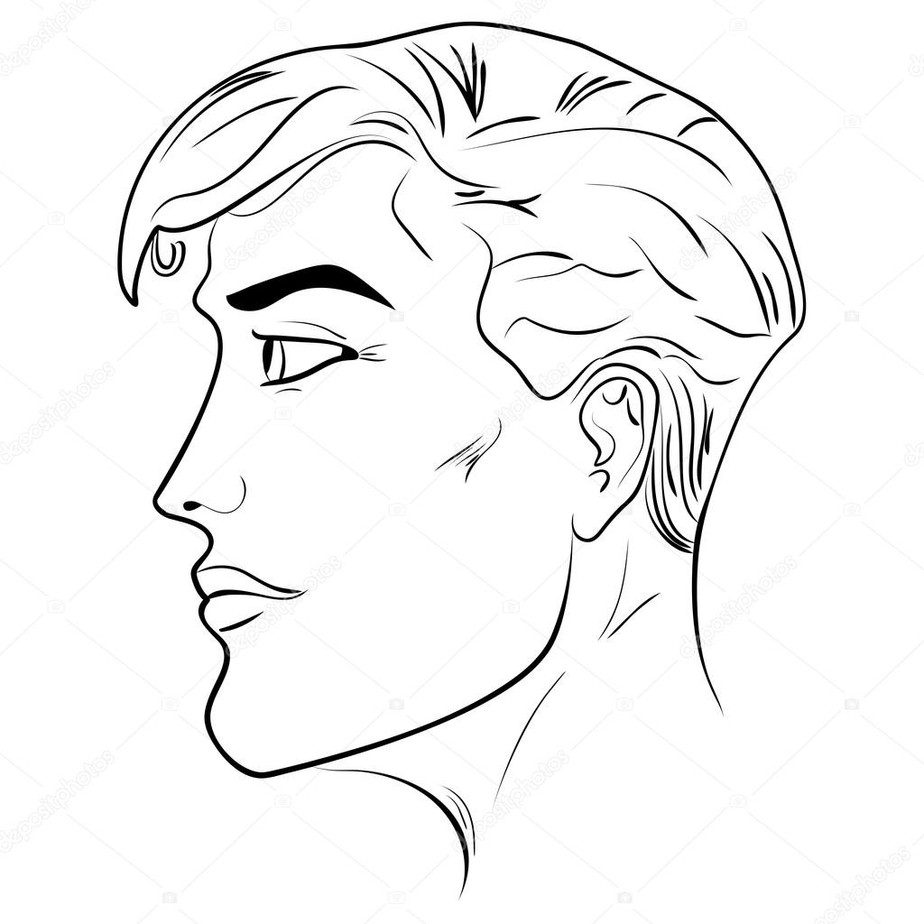 1024x1024 Outline Side Profile Of A Human Male Head Stock Vector