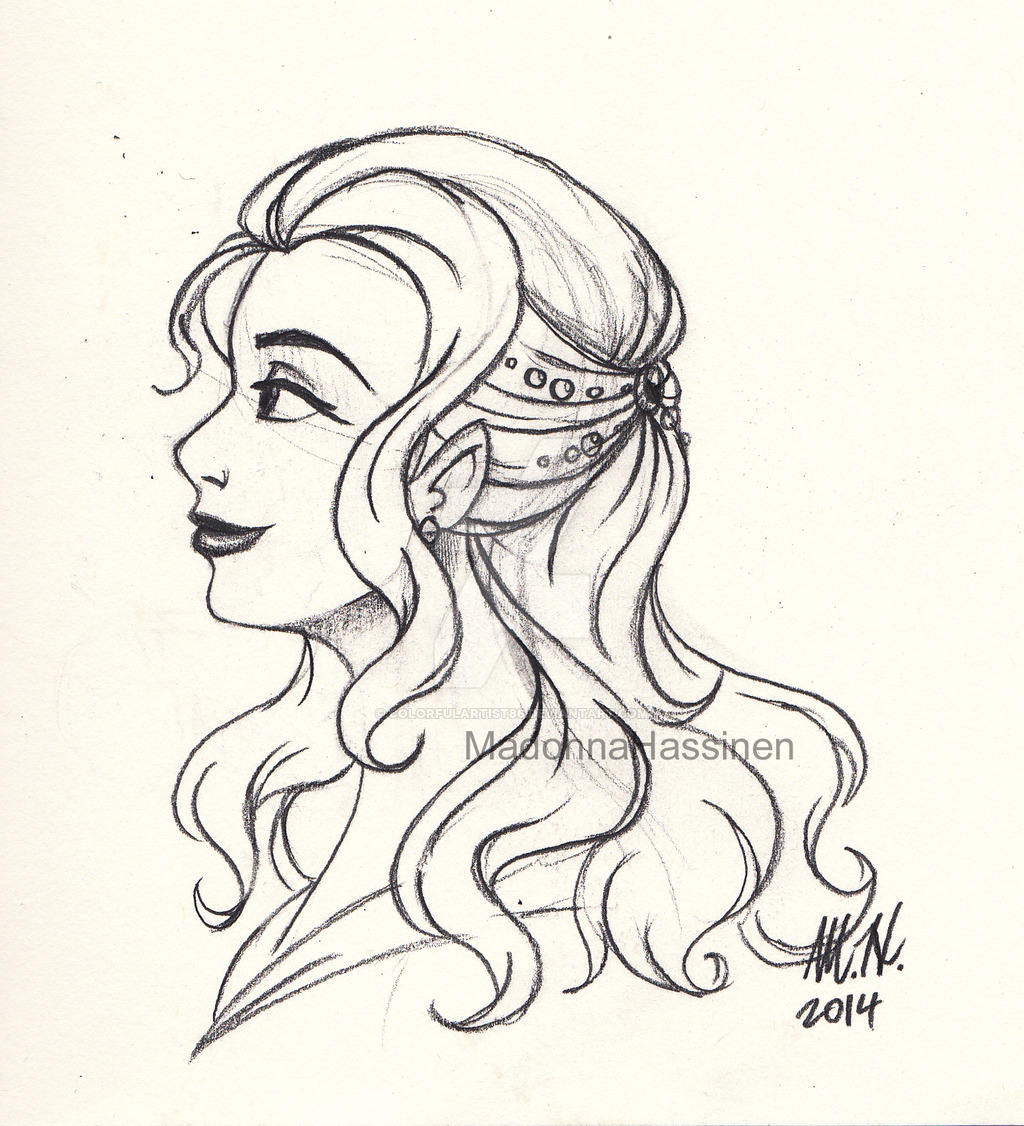 1024x1126 A Refine Lady Profile Sketch