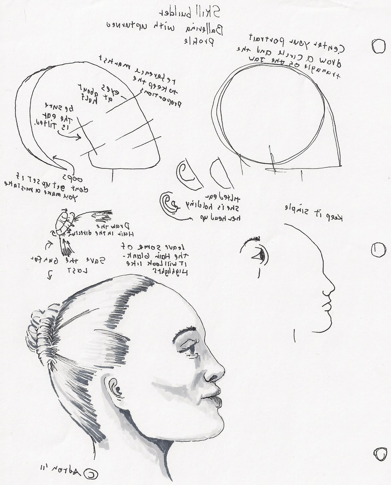 1292x1600 Drawing Face Profile Looking Up How To Draw The Female Face Side