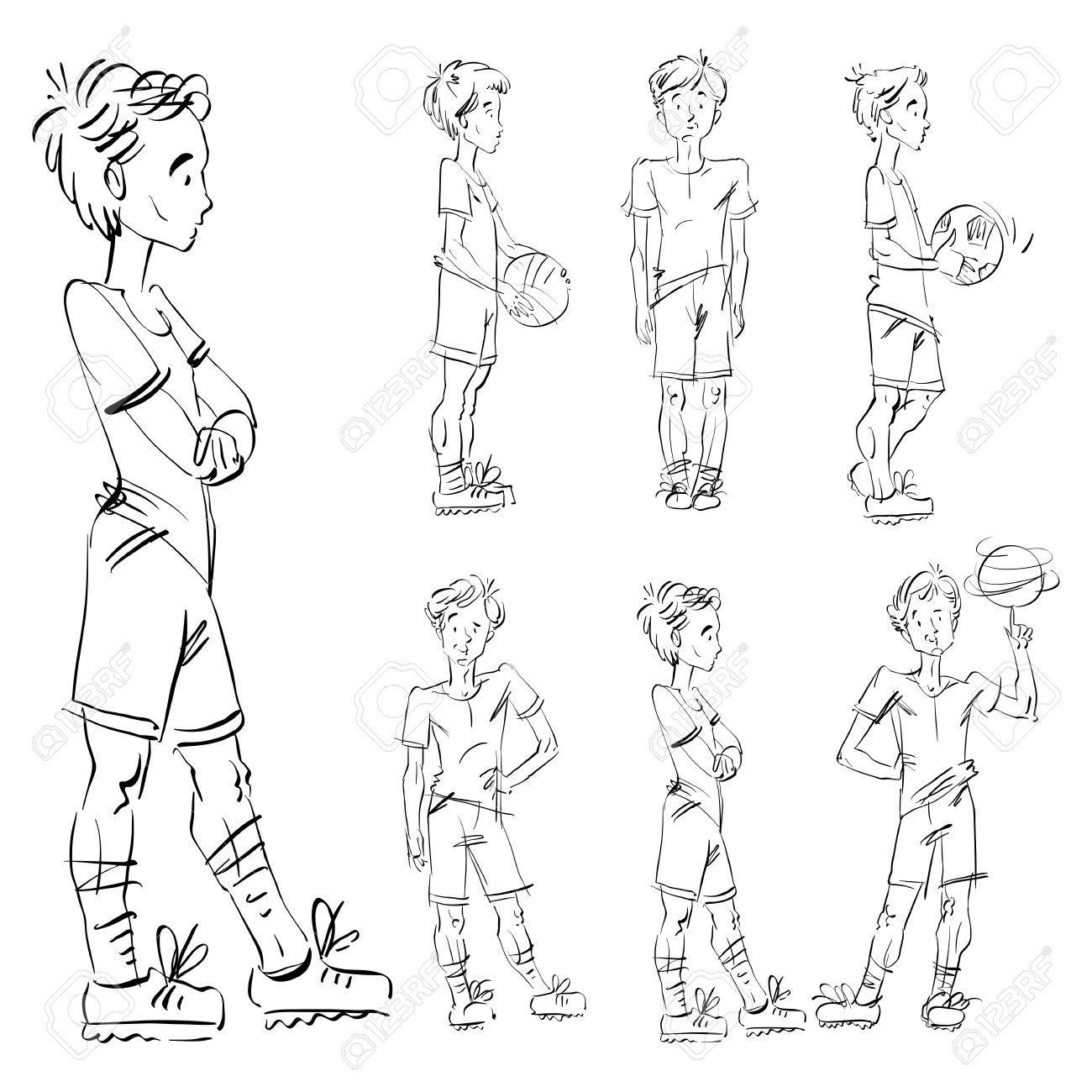 1300x1300 Set Of Vector Full Length Hand Drawn Caucasian Teens, Black