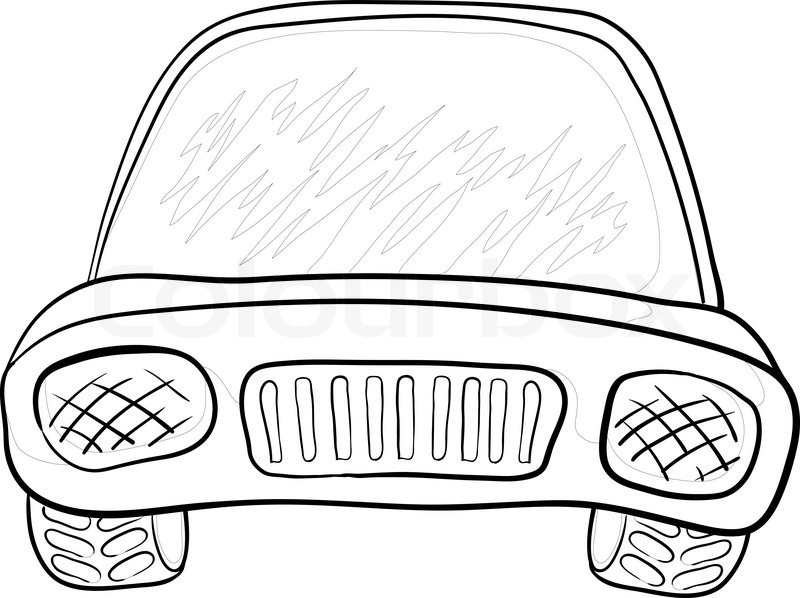 800x598 Cartoon Car, Monochrome Contours On White Background Vector