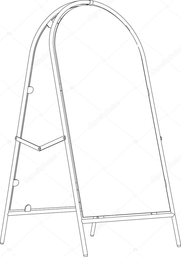 723x1023 Drawing Of Wire Frame Sidewalk Sign. Perspective View. Vector