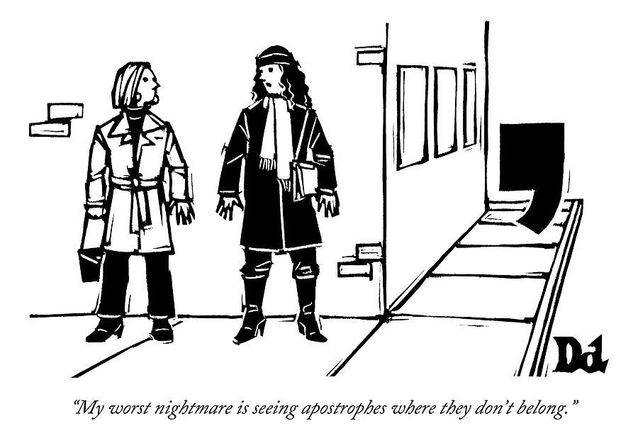 900x625 Two Women Talk On The Sidewalk While An By Drew Dernavich