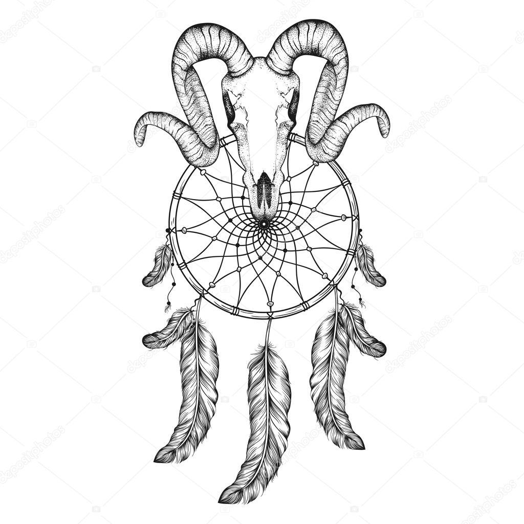 1024x1024 Hand Drawn Goat Skull Doodle Vector Illustration. Dotwork Fullfa